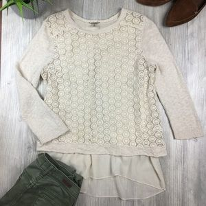 Lucky Brand Mixed Media Ivory Lace Pullover Sz M